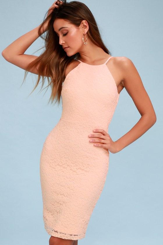 923ddb42023a Chic Blush Pink Dress - Lace Dress - Bodycon Dress