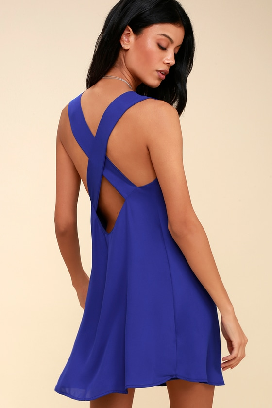 Love You Better Cobalt Blue Sleeveless Shift Dress by Lulus