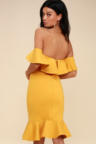 69bc557bd669 Confidence Boost Mustard Yellow Off-the-Shoulder Bodycon Dress