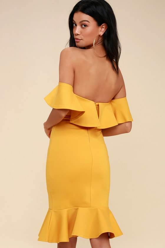 Marigold Yellow Off the Shoulder Dress