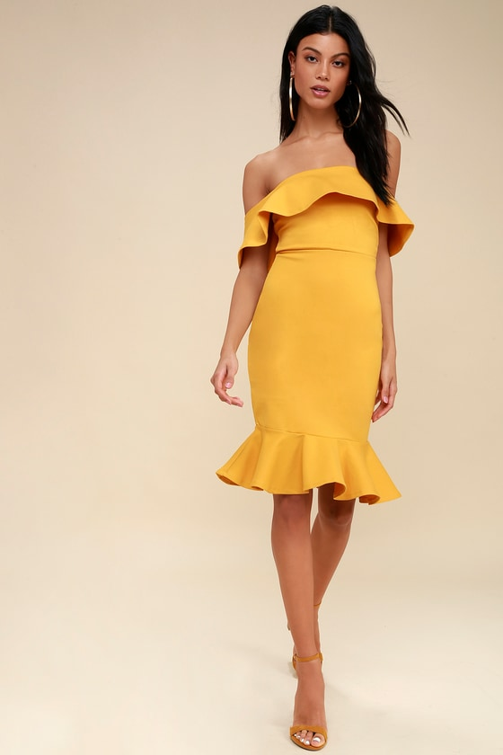 f71077f911ac Sexy Yellow Dress - Bodycon Dress - Off-the-Shoulder Dress