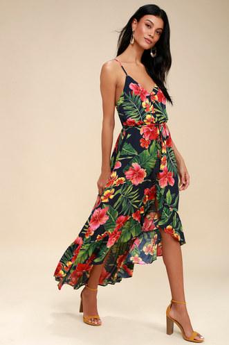 376911804 Pura Vida Navy Blue Tropical Print Button-Up High-Low Midi Dress