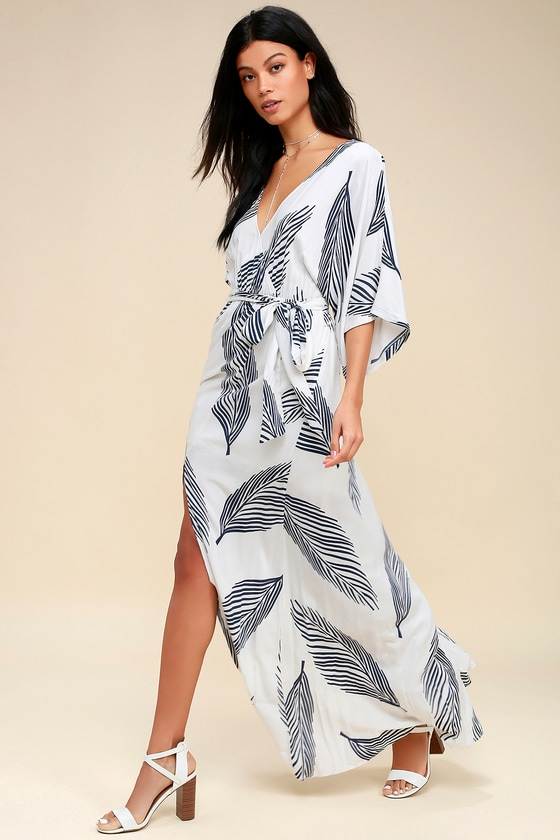 9b5b73c88c6d Sign of the Times White and Navy Blue Leaf Print Maxi Dress