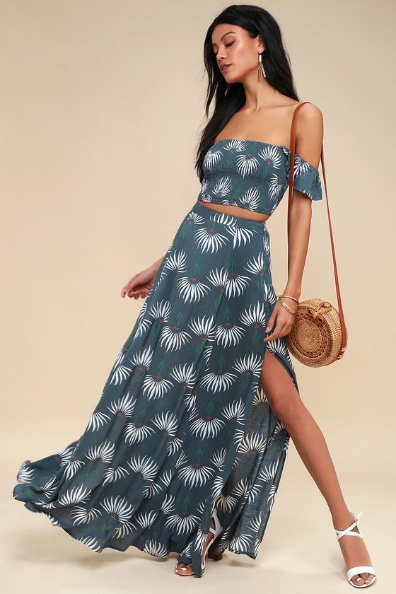 b7a26643f902 Dusty Blue Dress - Floral Print Dress - Two-Piece Maxi Dress