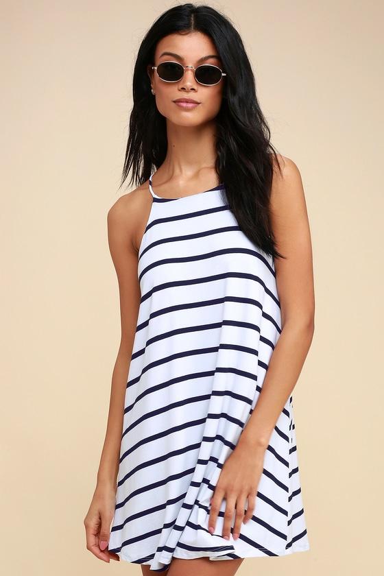 7389d40e8dbe Cute Navy Blue and White Striped Dress - Swing Dress