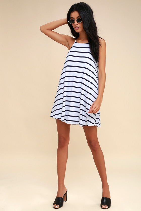 467dda70b68ed Step Right Up Navy Blue and White Striped Swing Dress