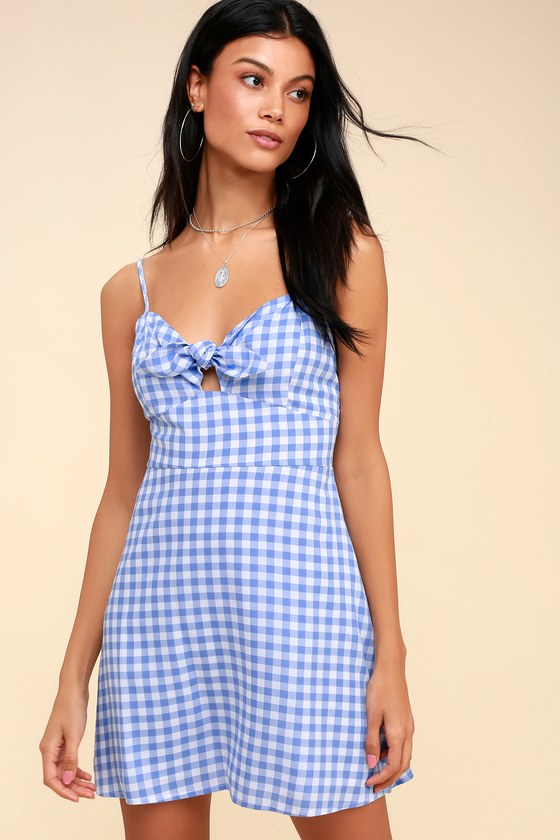 77dfff995c7 Cute Blue and White Dress - Gingham Dress - Tie-Front Dress