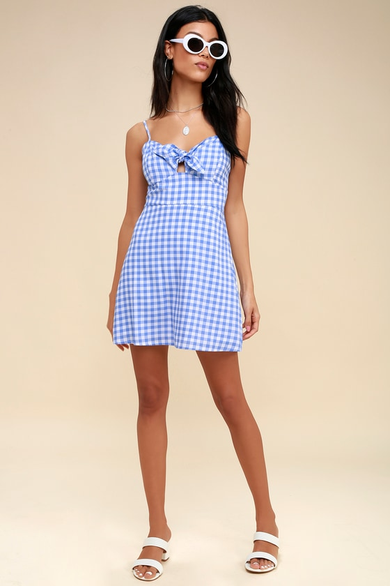 186cdb5f1 Cute Blue and White Dress - Gingham Dress - Tie-Front Dress