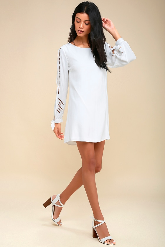b2d8aa1e2c Cute White Dress - Shift Dress - Long Sleeve Dress