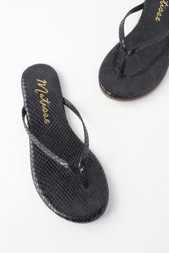 6eaaa833137 Matisse Malibu Sandals - Snake Print Sandals - Flip-Flops