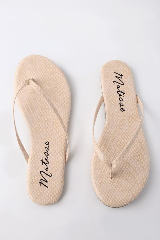 551bd583ea7 Matisse Malibu Sandals - Natural Snake Print Sandals - Flip-Flops