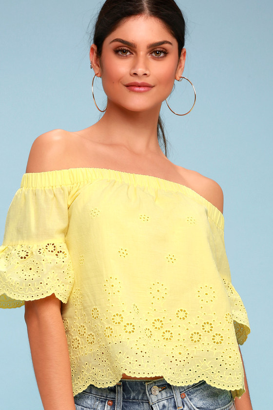 374b586afe4a53 Cute Yellow Top - Eyelet Top - OTS Top - Embroidered Top