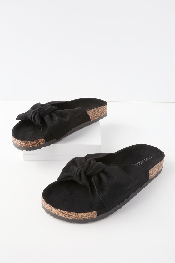 Campo Black Suede Knotted Slide Sandals by Lulu's