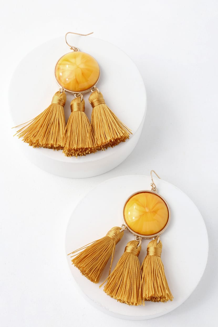 Boho Golden Yellow Earrings Marble Earrings Tassel Earrings
