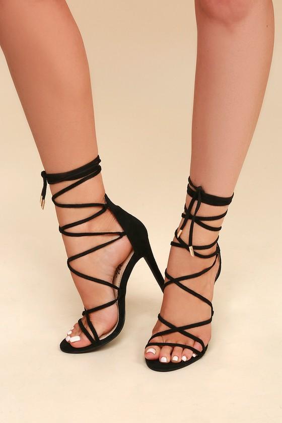 bde0c8025ec Sexy Black Heels - Vegan Suede Heels - Lace-Up Heels