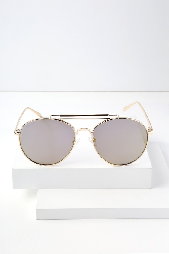 Mariana Gold Mirrored Aviator Sunglasses by Perverse
