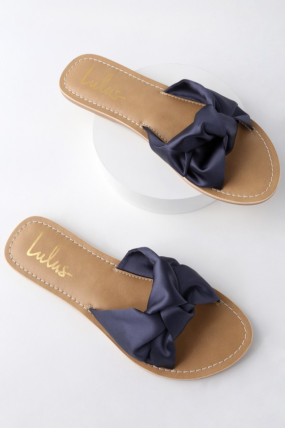 MAKENZIE NAVY BLUE SATIN SLIDE SANDALS