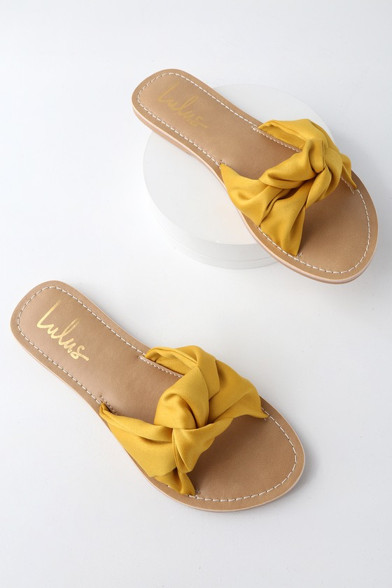 Cute Yellow Sandals Knotted Slide Sandals Satin Sandals