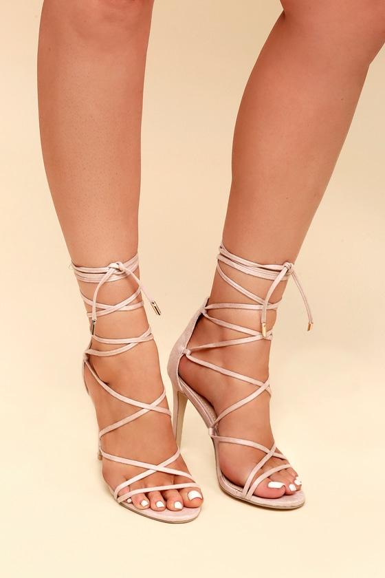 d7ca216a7e Sexy Nude Heels - Vegan Suede Heels - Lace-Up Heels