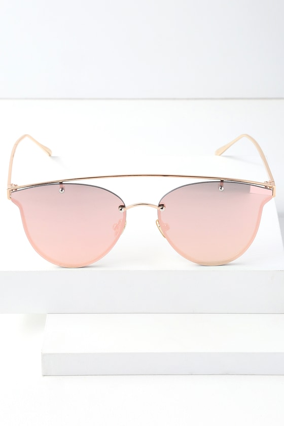 Perverse MAE ROSE GOLD AND PINK MIRRORED SUNGLASSES