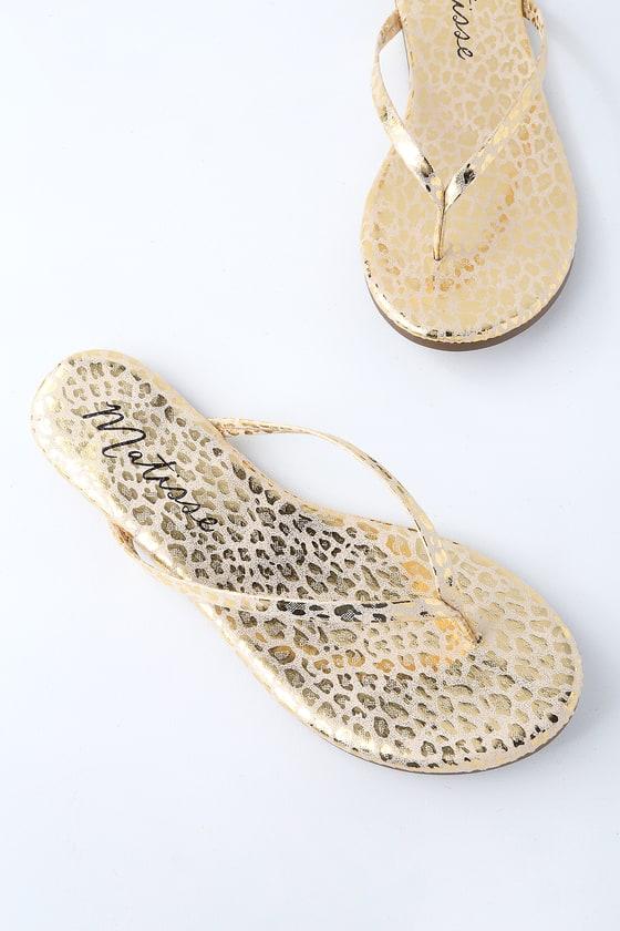 9e4bf63c12a Matisse Malibu Sandals - Leopard Print Sandals - Flip-Flops