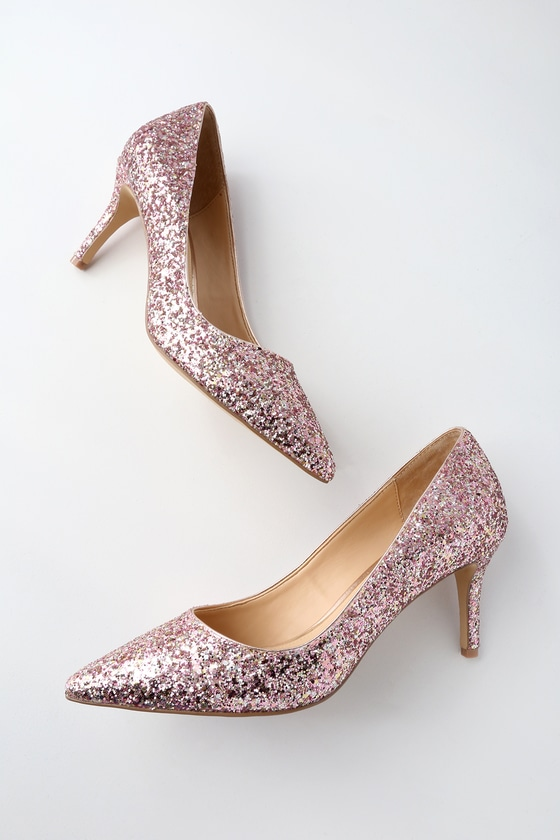 Lyla Rose Gold Glitter Pumps by Jewel By Badgley Mischka