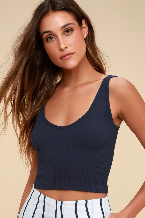 3accfeda3285cf Free People Solid Rib Cami - Navy Blue Crop Top - Tank Top