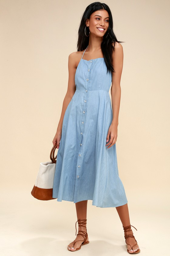 f227134d2cf9 Cute Chambray Dress - Blue Dress - Tie-Back Dress
