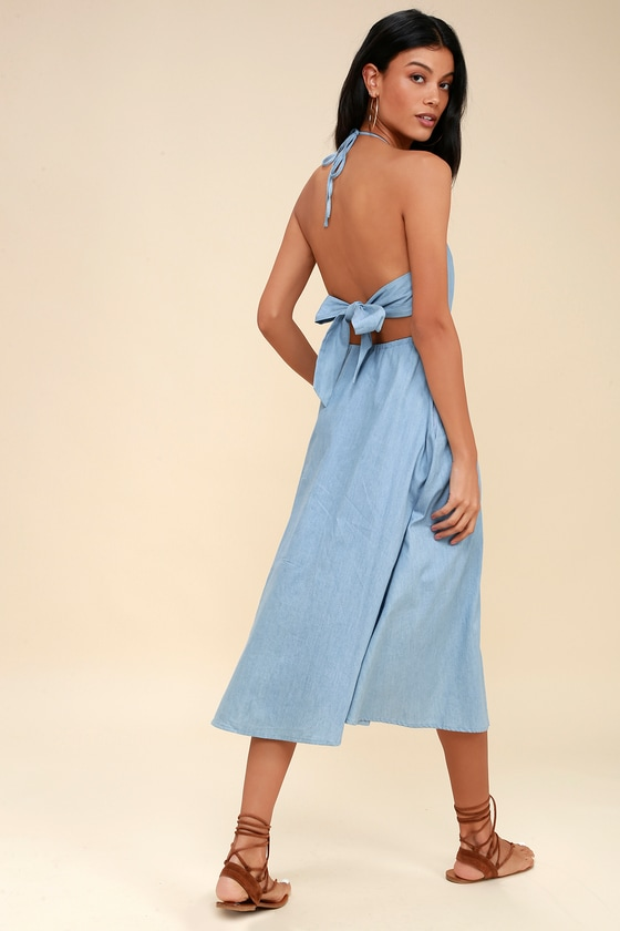 659776d0ddf Cute Chambray Dress - Blue Dress - Tie-Back Dress
