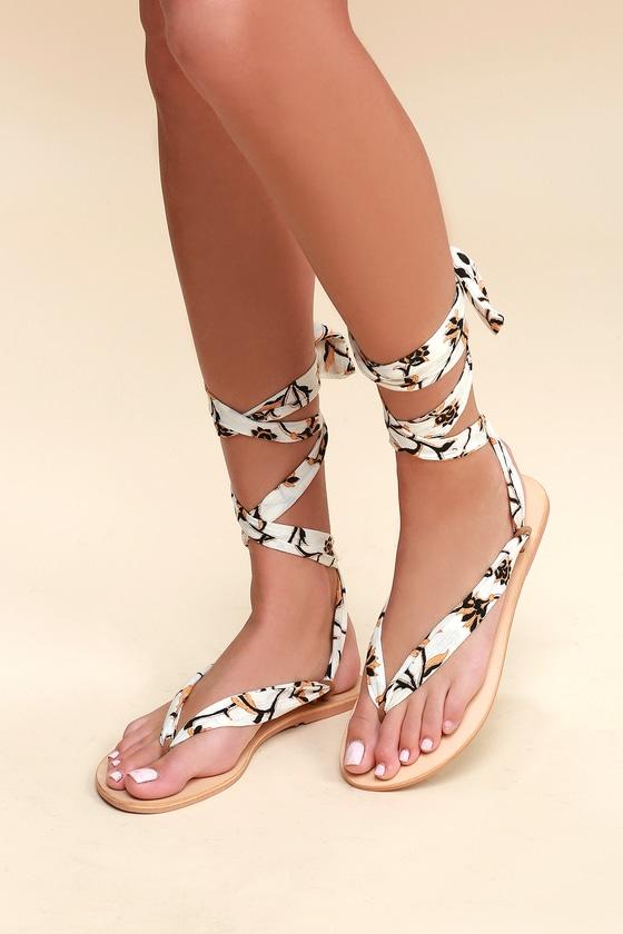 Lulus Oceano Print Lace-Up Thong Sandal Heels - Lulus 05sOhGDVz
