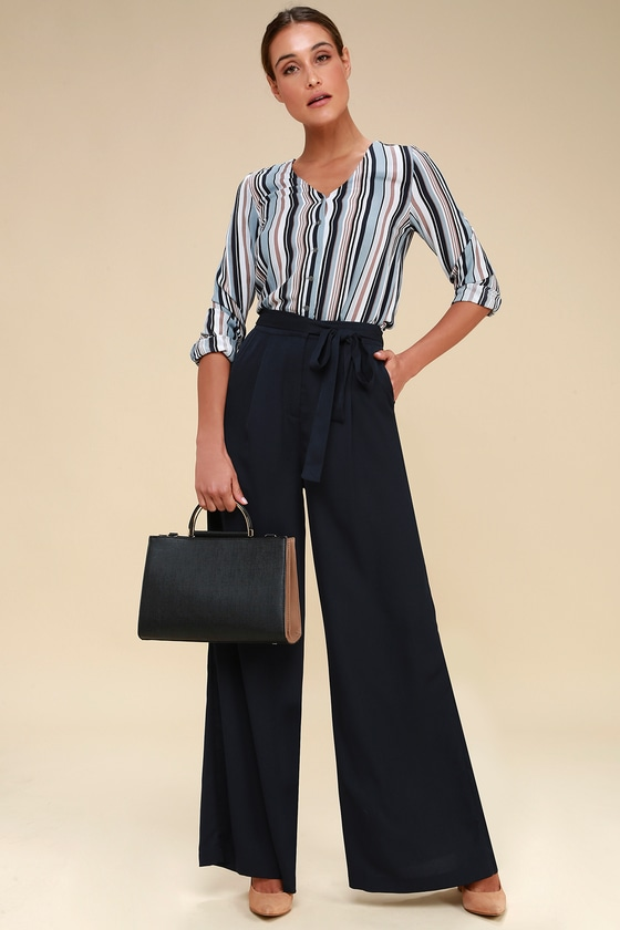 a9e52f869a Chic Navy Blue Pants - Wide-Leg Pants - High-Waisted Pants