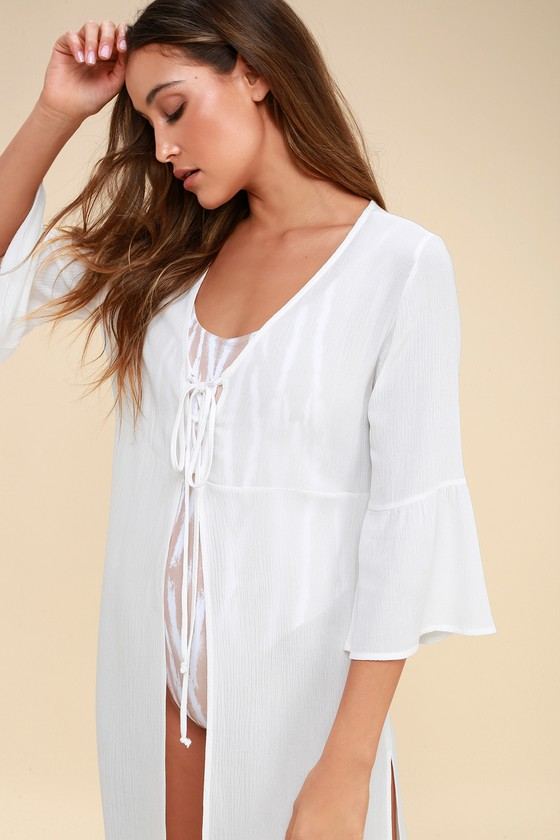 584005f161d70b Cute White Cover-Up - Swim Cover-Up - Kimono Top - Maxi Top