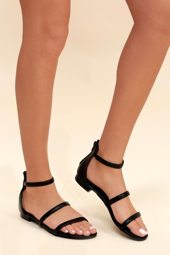 1bbe6b638 Cute Black Sandals - Flat Sandals - Vegan Leather Sandals