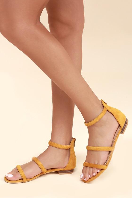 323662975 Cute Mustard Sandals - Flat Sandals - Vegan Suede Sandals