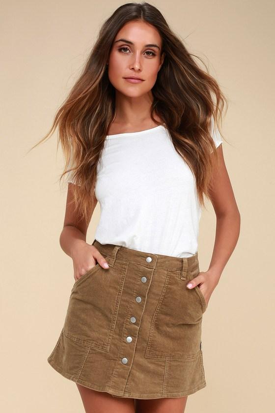 dbf6112479 Rhythm Olivine - Brown Corduroy Mini Skirt - Button-Up Skirt