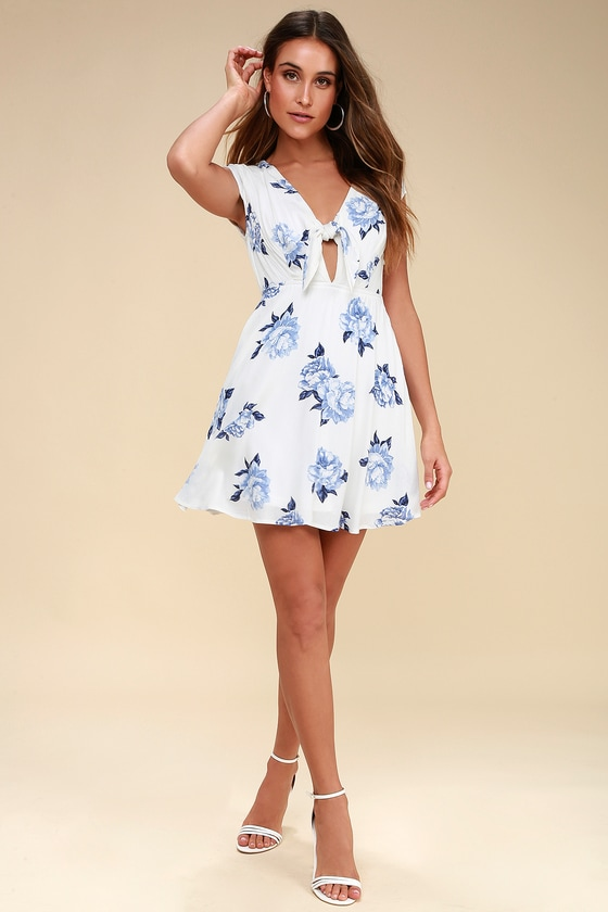 Venetia Blue and White Floral Print Tie-Front Skater Dress 8b1f5ec91