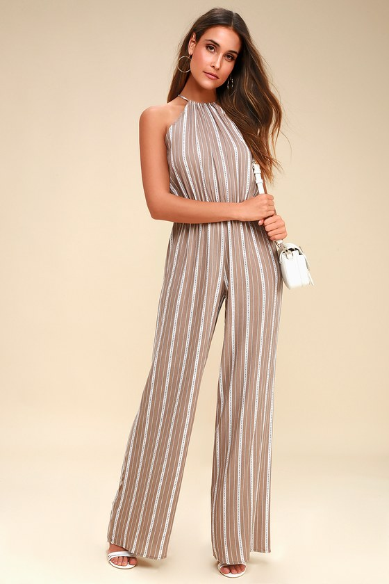 Ocean City Tan and White Striped Jumpsuit