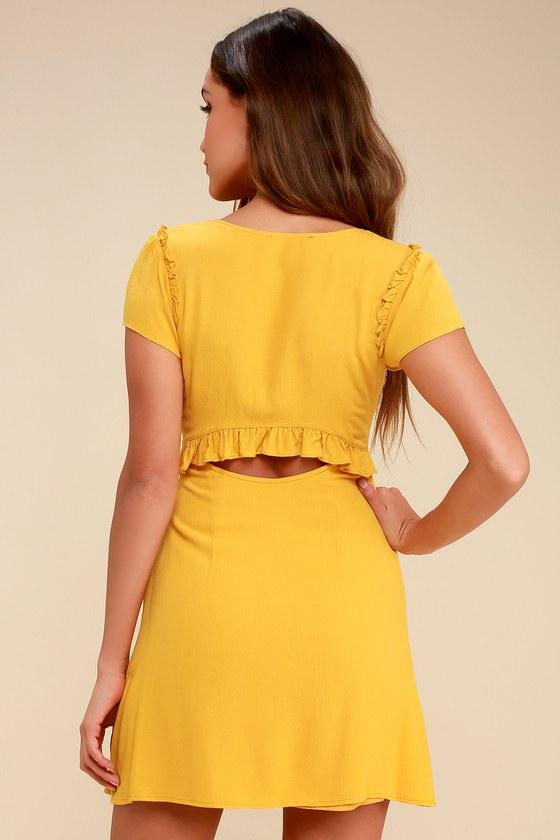 d7b78acd6dc Cute Mustard Yellow Dress - Cutout Dress - Tie-Front Dress