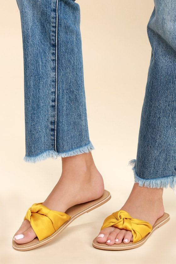 9c2e4d986ee5 Cute Yellow Sandals - Knotted Slide Sandals - Satin Sandals