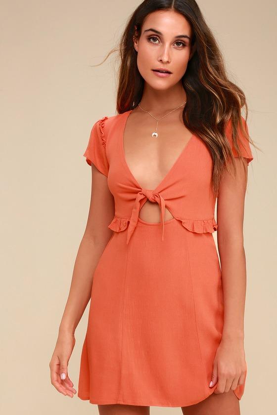 814d5b670e Cute Coral Orange Dress - Cutout Dress - Tie-Front Dress