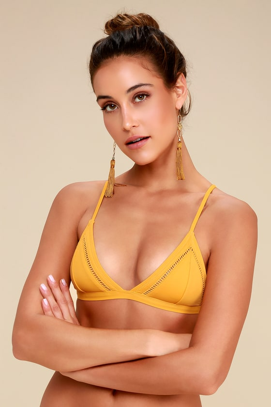 9fd769381f2fb Rhythm My Bralette - Mustard Yellow Bikini Top