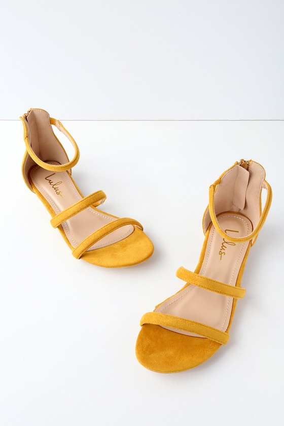 Cute yellow flat sandals for graduation