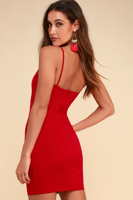 79702d203a0 Sexy Bodycon Dress - Red Dress - Red Sleeveless Dress