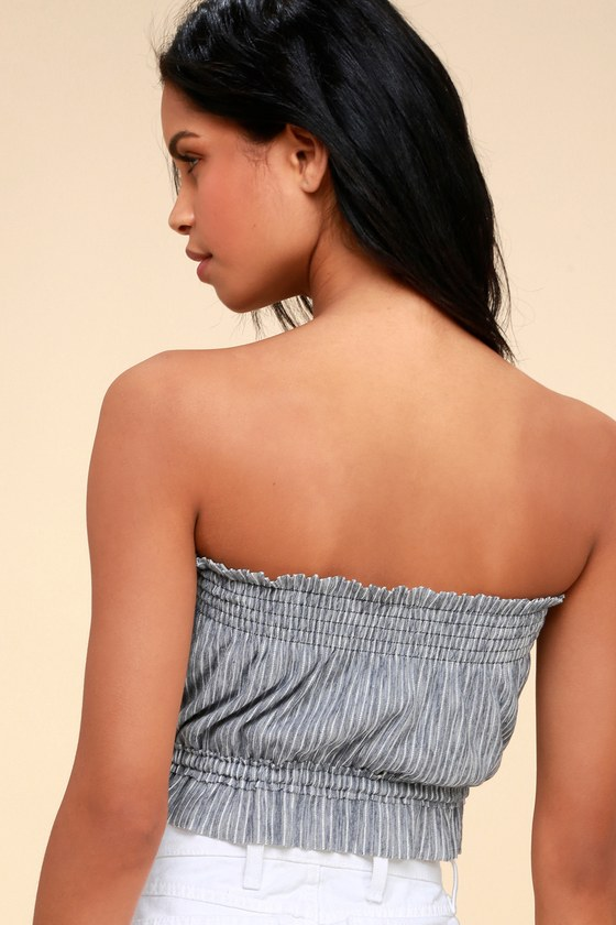 a029d07a41 Free People Peppermint - Navy Blue Striped Tube Top