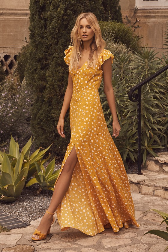 74bc16293b46 Lovely Mustard Yellow Floral Print Dress - Floral Maxi Dress