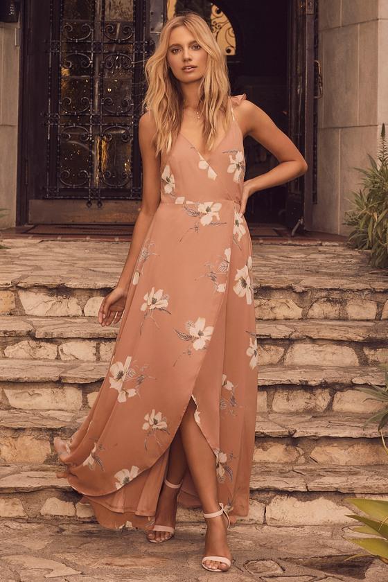bdc8cdea61 Rusty Rose Floral Print Dress - Wrap Dress - High-Low Dress