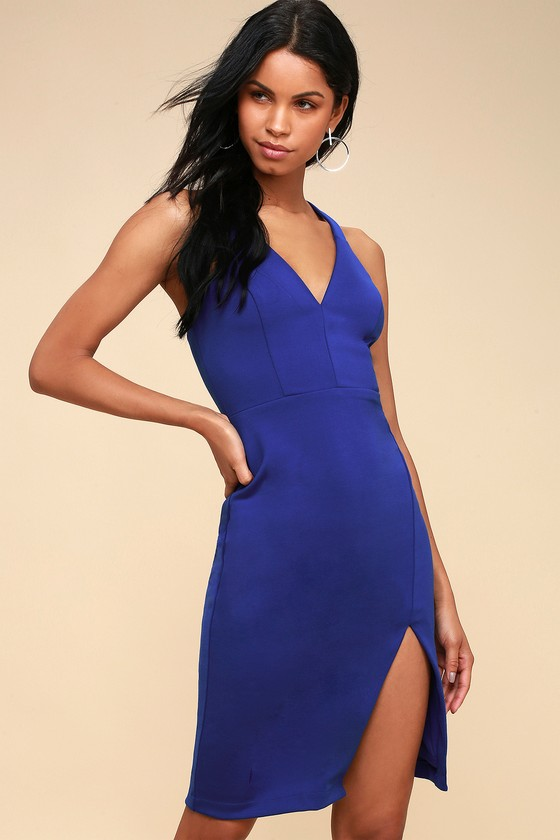 Sexy Royal Blue Dress Bodycon Dress Blue Midi Dress