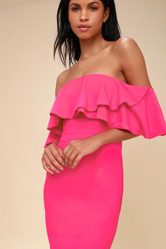 8b7a50c512f3 Cute Hot Pink Dress - Off-the-Shoulder Dress - Bodycon Dress