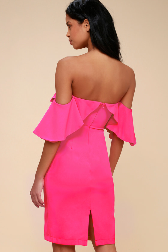 dd3a3f54961a Cute Hot Pink Dress - Off-the-Shoulder Dress - Bodycon Dress