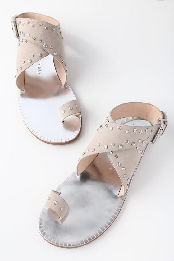 Lulus Jessa Stone Nubuck Rhinestone Sandal Heels - Lulus DWht58